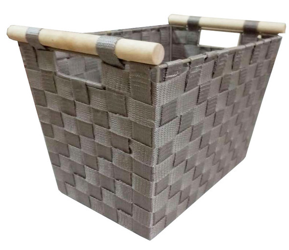 NON WOVEN TAPPERED BASKET W/ WOOD HANDLE (GREY)