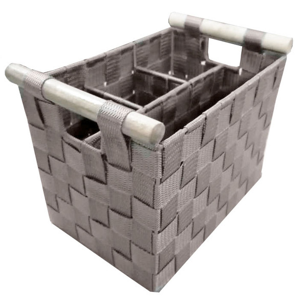 NON WOVEN SHOWER CADDY WITH WOOD HANDLE (GREY)