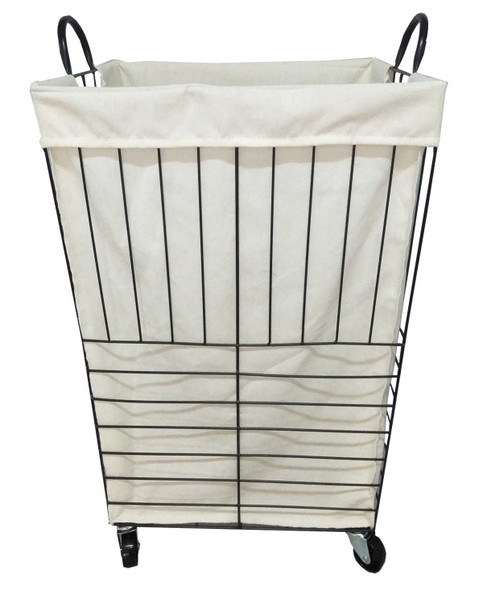 VINE HAMPER W/ FABRIC LINER & 4 CASTERS (BIG)