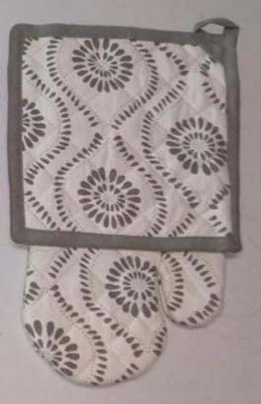 Wavy Gray Gloves & Pot Holder Set