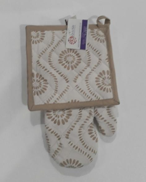 Wavy Brown Gloves & Pot Holder Set