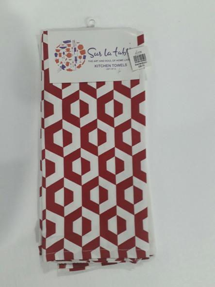 Red Hexa Kitchen Towel Set of 3