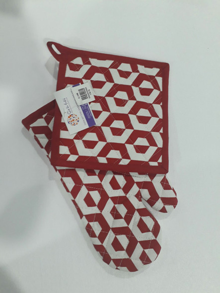 Red Hexa Gloves & Pot Holder Set