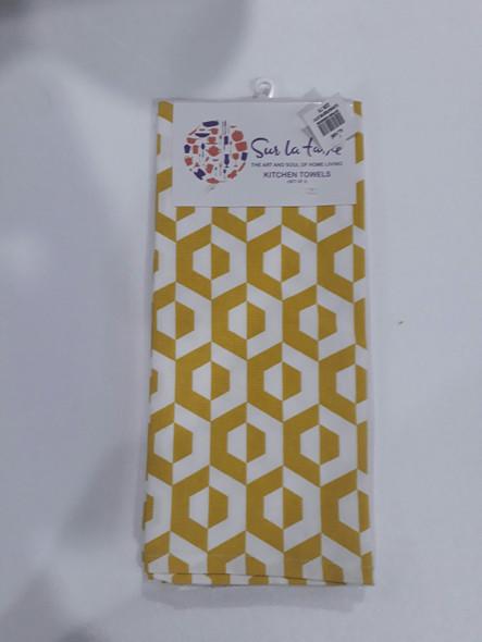 Yellow Hexa Kitchen Towel Set of 3