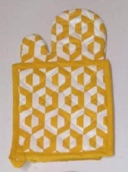 Yellow Hexa Gloves & Pot Holder Set