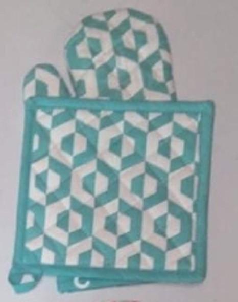 Blue Hexa Gloves & Pot Holder Set