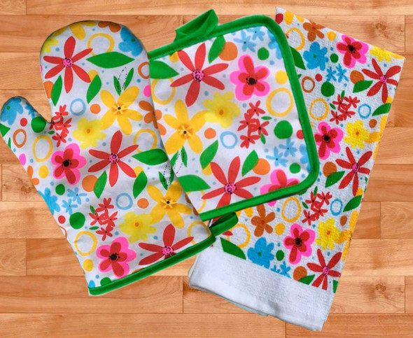 Casabella Kitchen Ensembles Summer Blossom Set of 3