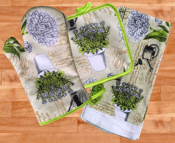 Casabella Kitchen Ensembles Green Garden Set of 3
