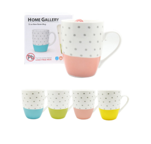 CM12-272 Home Gallery 12oz New bone Mug -Fancy Polka Dots