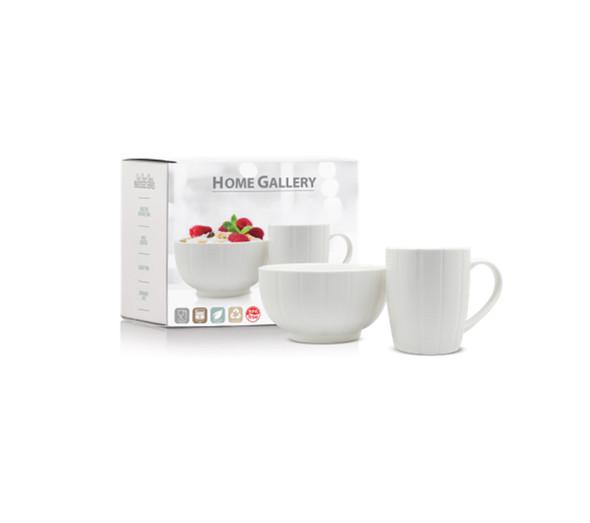 HG-NB/EBM-01 Home Gallery New Bone Embossed Bowl and Mug Set