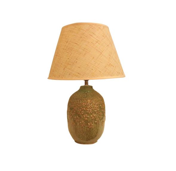 LEUCHTE TABLE LAMP CERA FLORAL GRN