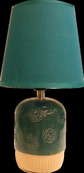 LEUCHTE TABLE LAMP CERAMIC FLORAL DES BLUE