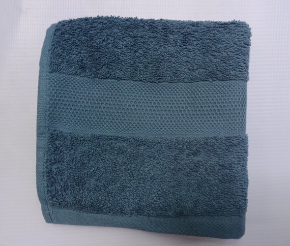 "Linen N Things 12x12"" Border3 Mallard Blue FaceTowel"