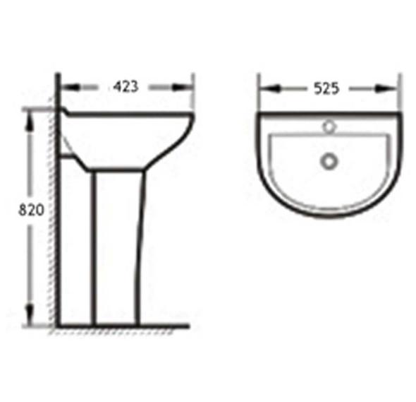 BRAUHN LEOTA JX-261102 FULL-PEDESTAL LAVATORY