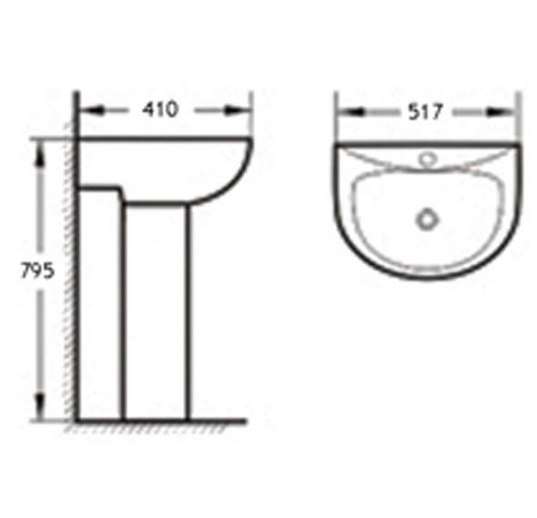 BRAUHN MARGO JX-261105 FULL-PEDESTAL LAVATORY
