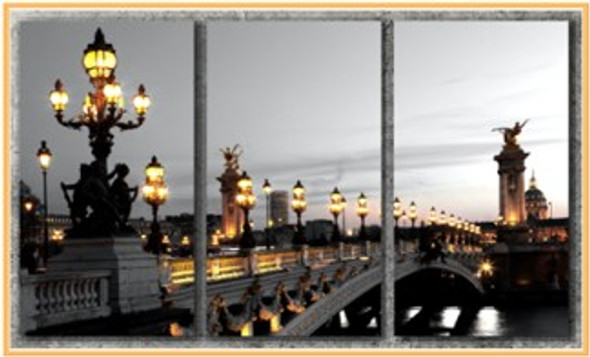 Triptych Wall Art 3IN1 16x32 Alexander Iii Bridge