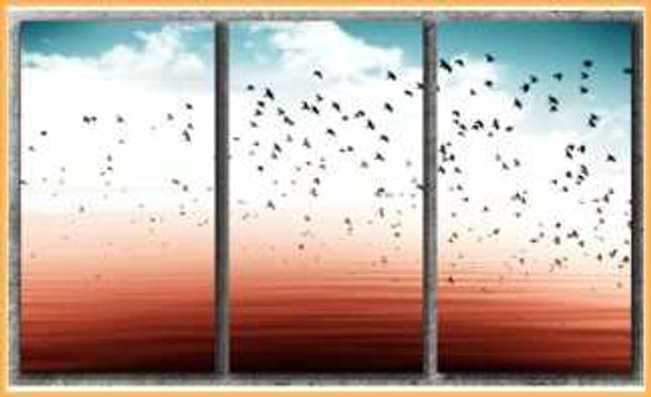 Triptych Wall Art 3IN1 16x32 Birds Flying On Abstract Sky