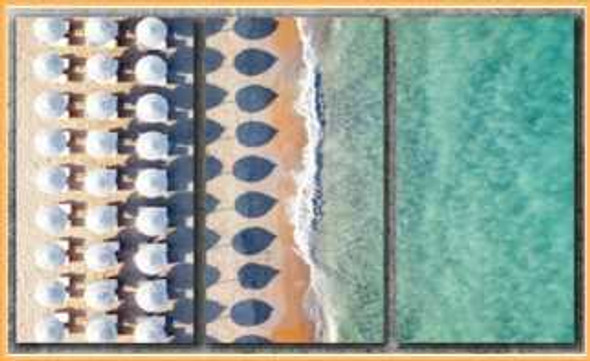 Triptych Wall Art 3IN116x32 Italian Beach Aerial View