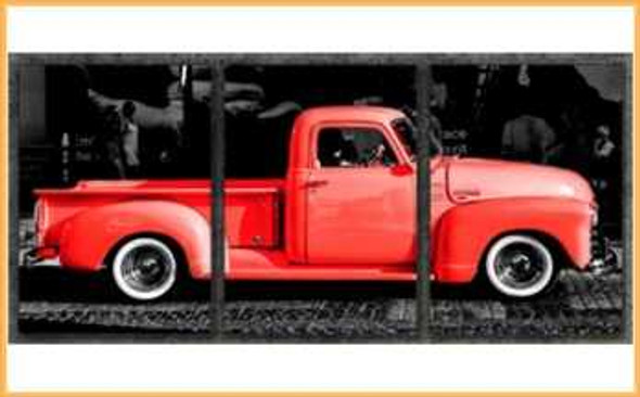 Triptych Wall Art 3IN1 16x24 Living Coral Chevy Truck