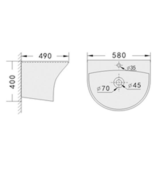 BRAUHN LOVELLE 5300B SEMI-PEDESTAL  LAVATORY