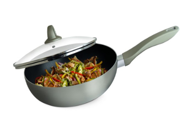 NK-P707 28CM PLATINUM INDUCTION WOK WITH GLASS LID