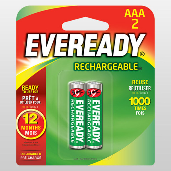 EVEREADY RE12BP2 RECHARGEABLE BATTERY AAA 2S