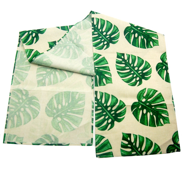 S-8588-C 33X176CM PALM LEAVES TABLE RUNNER