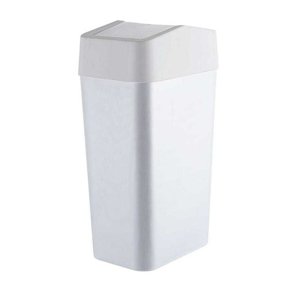 RECT TRASH BIN W/ SWING COVER 8L (WHITE)