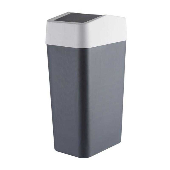 RECT TRASH BIN W/ SWING COVER 8L (GRAY)