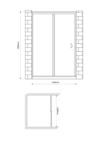BRAUHN DS120 120X150 SHOWER PARTITION