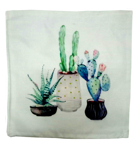 "18""x18"" 3Cactus2 Suede Throw Pillow Case"