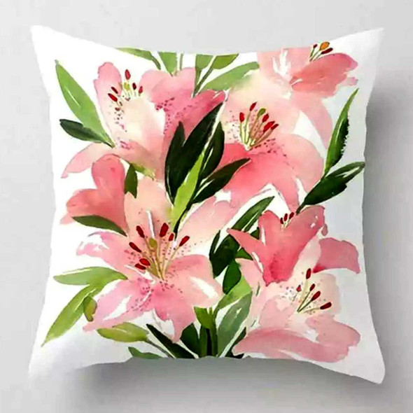 "18""x18"" Lily Flower   Suede Throw Pillow Case"