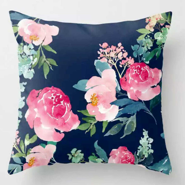 "18""x18"" Peony and Rose Suede Throw Pillow Case"