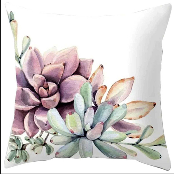 "18""x18"" Roseum Push Plan Succulent Suede Throw Pillow Case"