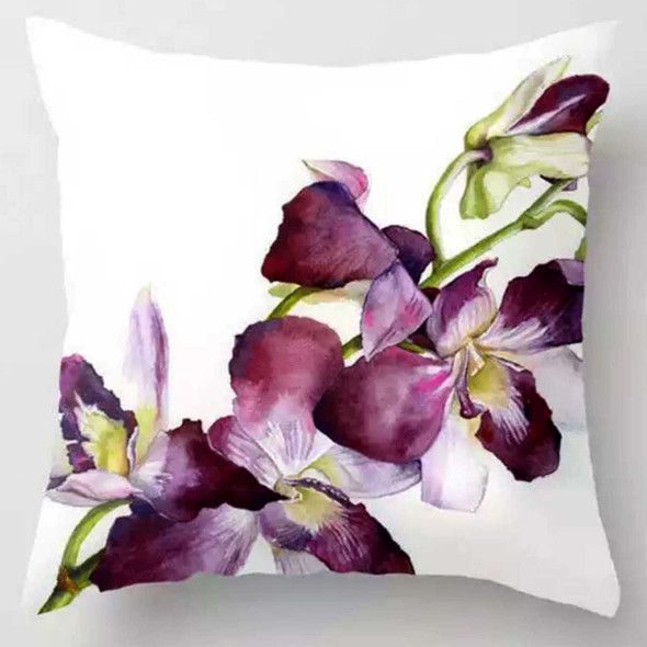 "18""x18"" Orchids Suede Throw Pillow Case"