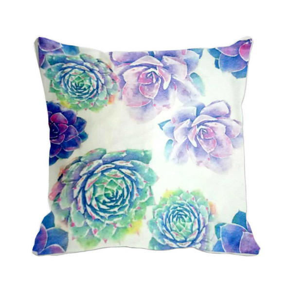 "18""x18"" Hens and Chicks Succulent  Suede Throw Pillow Case"
