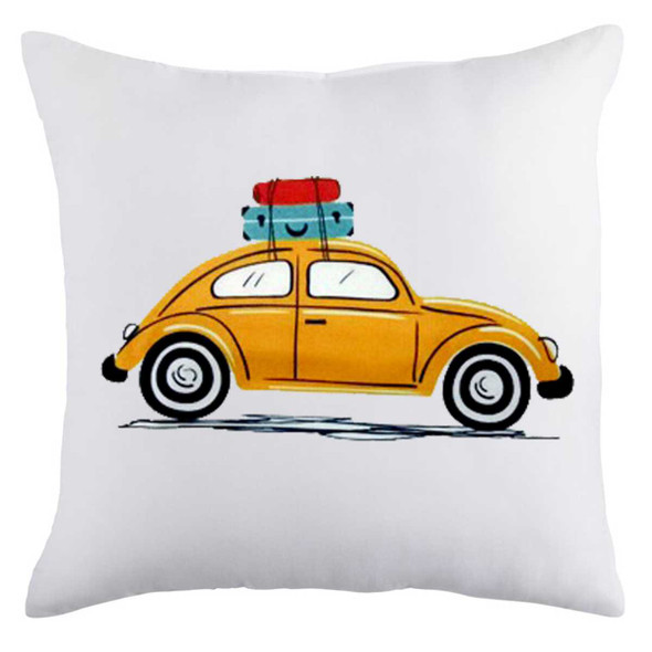 "18""x18"" Beetle Car with Luggage   Suede Throw Pillow Case"