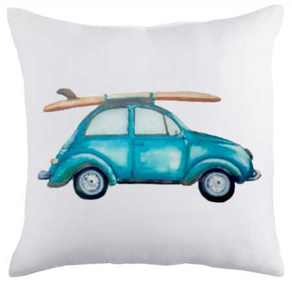 "18""x18"" Beetle with Surf Board Suede Throw Pillow Case"