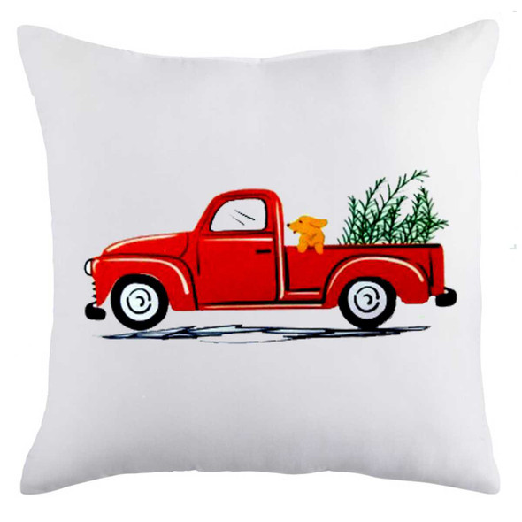 "18""x18"" Pick Up Van With Dog  Suede Throw Pillow Case"