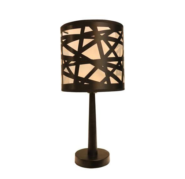 TABLE LAMP METAL STRIPES BK