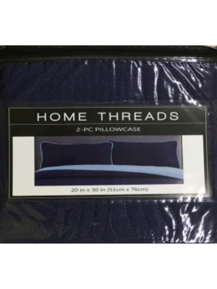 "Homethreads 20""X30"" Navy Blue/L.Blue Quilt 2pc pillow case"