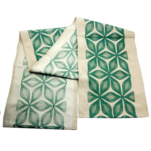 4-6 SEATERS GREEN FLOWER EMBRO TABLE RUNNER