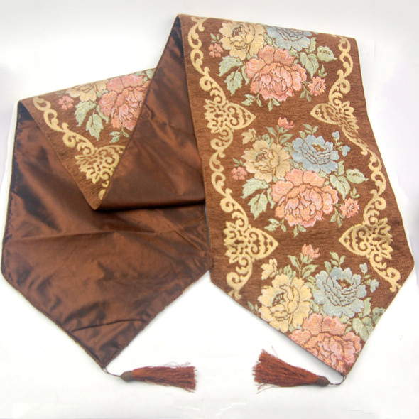 33X135CM 4-6 SEATERS BROWN FLOWER1 TABLE RUNNER WITH LINING