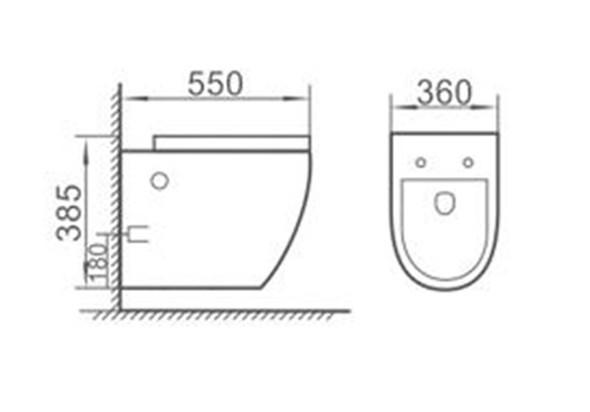 TEUER BRUNNER WHC-10010 WALL-HUNG WATER CLOSET