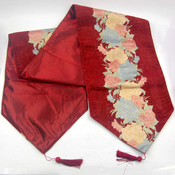 33X135CM 4-6 SEATERS RED FLOWER2 TABLE RUNNER WITH LINING