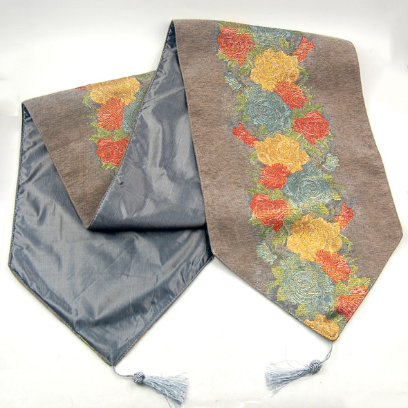 33X135CM 4-6 SEATERS  GREY FLOWER2 TABLE RUNNER WITH LINING