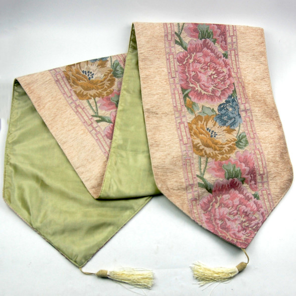 33X135CM 4-6 SEATERS BEIGE FLOWER3 TABLE RUNNER WITH LINING