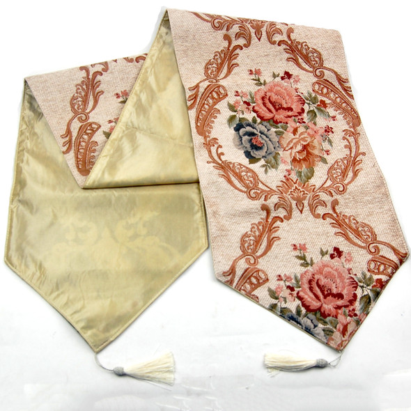 33X180CM 6-8 SEATERS BEIGE FLOWER4 TABLE RUNNER WITH LINING