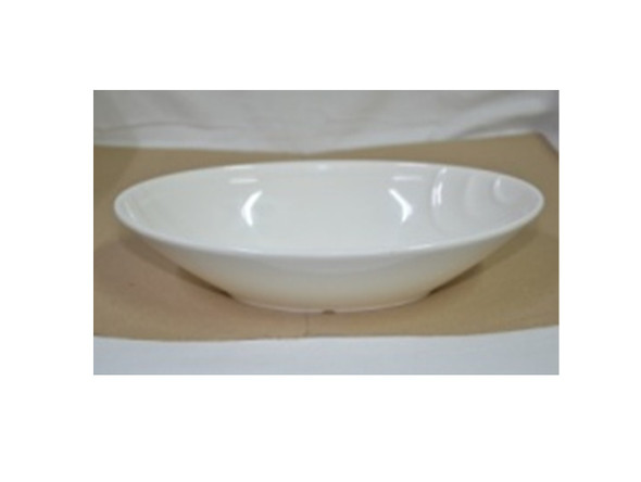 BOWL EMBOSSED UK MELA WHITE OVAL 9""