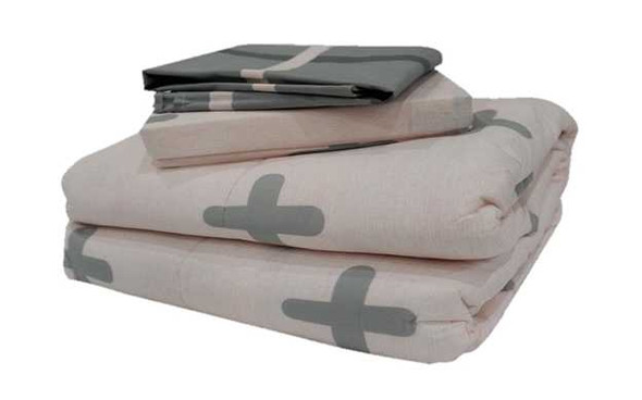 HomeThreads Full Base Pink With Gray Cross 3-Piece Fitted Bedsheet Set